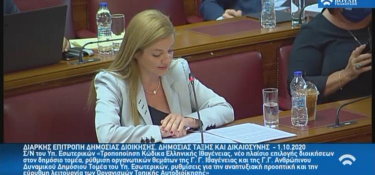 Εισηγήτρια στο Νομοσχέδιο του Υπ. Εσωτερικών για την ιθαγένεια και την αναδιοργάνωση των ΟΤΑ η Δ. Αυγερινοπούλου